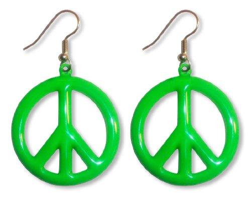 Neon Lime Green Hippie Peace Sign Dangle Earrings ()