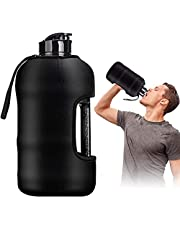 Half Gallon Water Bottle Large Black Gym Bottle 2.2 Liter With Case Water Jug With Lid Sports Water Bottle BPA Free Gym Water Bottle Suitable for Workouts,Athletes,Outdoor and Office