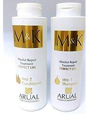 إم آند كيه - شامبو وبلسم أسباني- العناية بالشعر بعد البروتين والكرياتين - 400 مل