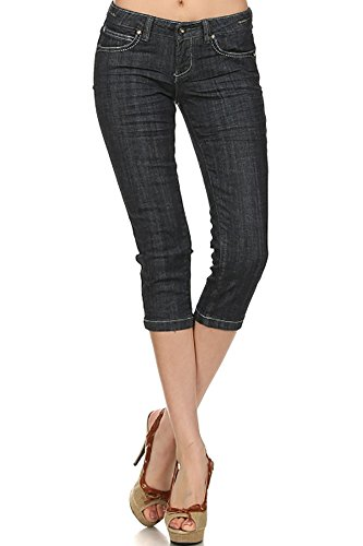 Limit 33 Juniors Teens Denim Capri Pants Jeans Low Rise Pockets Bling Greyish Blue Size - Rise Capri Pants Low