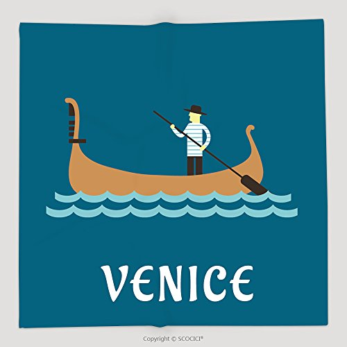 Custom Venice Travel Concept With Venetian Gondolier In Traditional Costume In A Wooden Gondola Boat With 300658733 Soft Fleece Throw Blanket