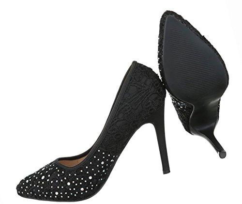 Damen Schuhe Pumps Strass Besetzte High Heels Stiletto Schwarz Schwarz