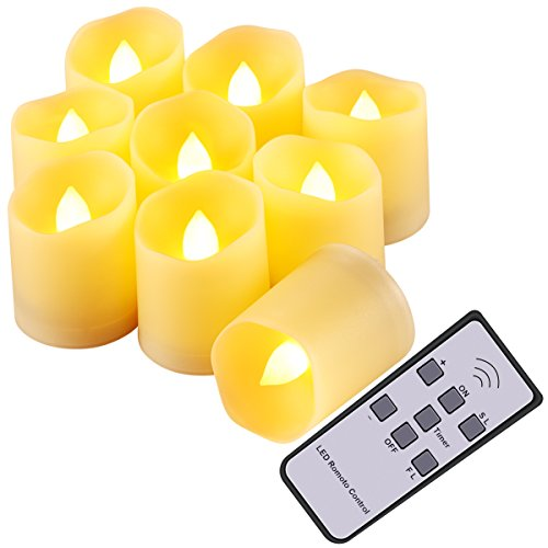 AMIR Flameless Candles, Flickering LED Tea light Candles, Remote Controlled Christmas Decoration Lights with 3 Modes, Timer & Batteries for Thanksgiving, Halloween, Party Celebration, Wedding (9 Pack) (Remote Controlled Lights Led Tea)