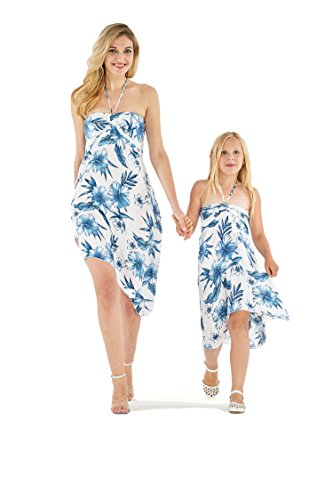 Matching Hawaiian Luau Mother Daughter Butterfly Dress in Day Dream Bloom M-2