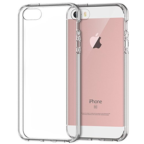 Hovisi® TPU+PC Shock Resistant Bumper silicon Crystal Case for Iphone 5/5S/SE (Crystal Clear) 5 Silicone Silicon Case
