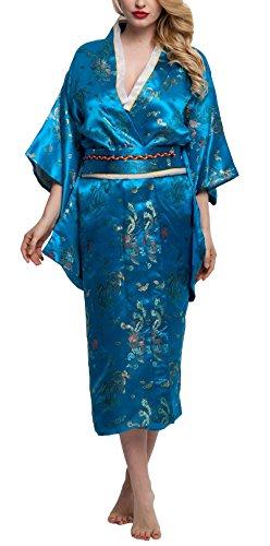 Kimono Palace Women's Silk Japanese Traditional Brocade Kimono Robe Floral Bathrobe Satin Party Robe Long Dragon (Floral Satin Brocade)