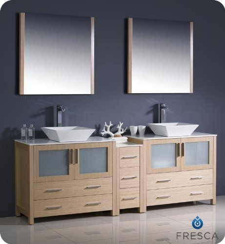 "Fresca Bath FVN62-361236LO-VSL Torino 84"" Double Sink Vanity with Side Cabinet and Sinks, Light Oak - Dimensions of Vanity: 83.5""W x 18.13""D x 35.63""H Dimensions of Mirror (x2): 31.5""W x 31.5""H x 1.25""D Materials: Plywood with Veneer, Ceramic Sinks - bathroom-vanities, bathroom-fixtures-hardware, bathroom - 41W8O6dloNL -"