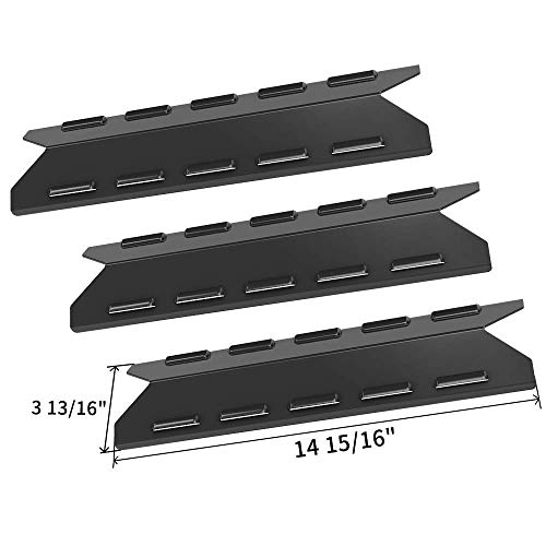 (SHINESTAR Grill Replacement Parts for BBQ Pro 146.23676310, Kenmore 146.16132110 and More, Hamilton Beach, 3 Pack Porcelain Steel Heat Shield Plate Tent Barbecue Burner Cover Flame Tamer(SS-HP054))