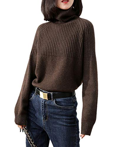 Cashmere Sweaters Women Loose Jumpers Wool Knit Split Thick Turtleneck Pullover Winter (XXL/US Size 18W-20W, Coffer) Clothing Hand Knit Sweaters