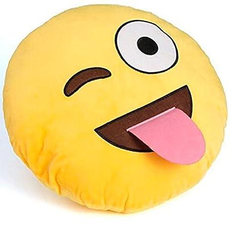 Cojín Emoji que tire la lengua - 30 cm - para sofá, cama ...