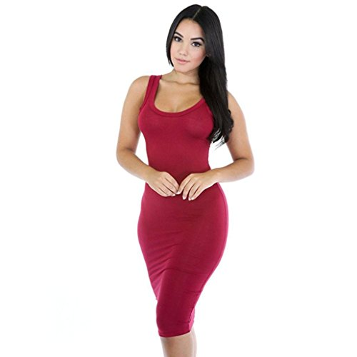 Solid Evening Party Dress, Luweki Women Sexy Summer Casual Bandage Bodycon Skirt (L, Red)