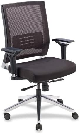 Lorell Executive Swivel Chair, 28-1 2 x 28-1 4 x 43-1 2 , Black Mesh Leather
