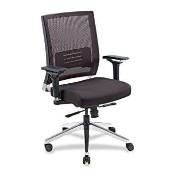 Lorell LLR90041 Executive Swivel Chair, 28-1 2 x 28-1 4 x 43-1 2 , Black Mesh Leather