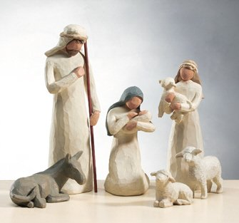 14 Piece Willow Tree Nativity Collection with Rock Creek 20 Hour Soy Candle