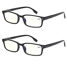Computer Glasses 2 Pair UV Protection, Anti Blue Rays, Anti Glare and Scratch Resistant Computer Reading Glasses (2.0, 2 Pack Black)