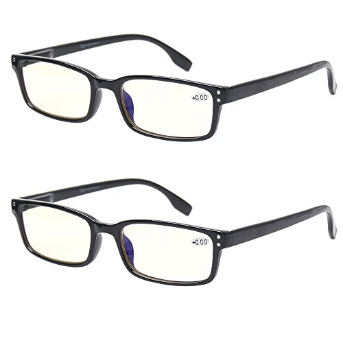 Computer Glasses 2 Pair UV Protection, Anti Blue Rays, Anti Glare and Scratch Resistant Computer Reading Glasses (1.5, 2 Pack ()