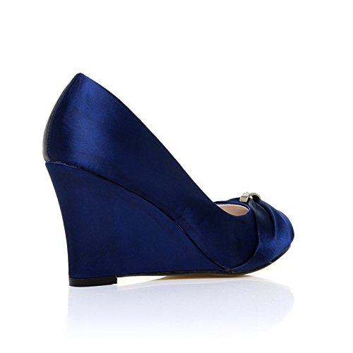 Satin Damen Keilabsatz Eden Satin Marineblau Pumps Marineblau YBqZx7