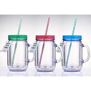 cupture double wall insulated plastic mason jar tumbler mug with striped straws 20 oz 3 pack - Mason Jar Drinking Glasses