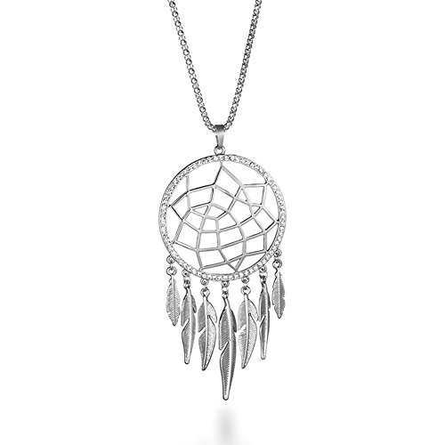 Women Retro Silver Turquoise Feather Dream Catcher Pendant Necklace Earrings Set Family Friend Gift