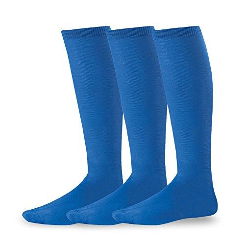 Soxnet Acrylic Unisex Soccer Sports Team Cushion Socks 3 Pack (Junior (7-9), Royal - Socks Acrylic Kids