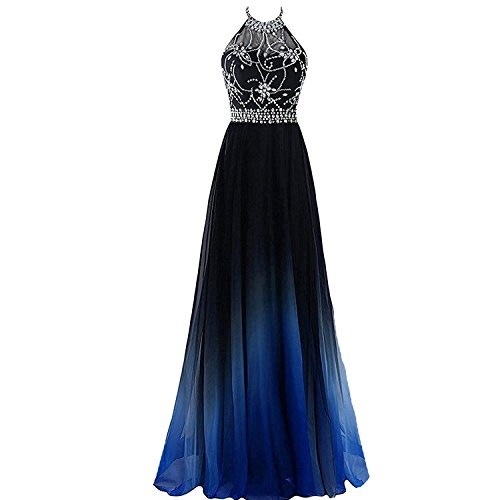 Kivary Sheer Beaded Halter Gradient Ombre Chiffon Long Prom Evening Dress Black Royal Blue US 6