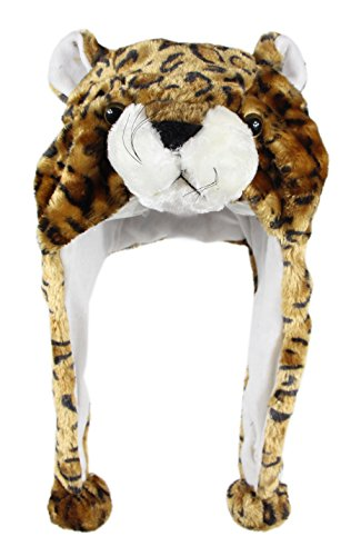 Bioterti Plush Fun Animal Hats –One Size Cap - 100% Polyester with Fleece Lining (Brown Leopard)