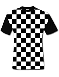 Men's Casual Graphics Black & White Racing Checkered Flag 3D Printed T-Shirts Short Sleeve Tops Tees