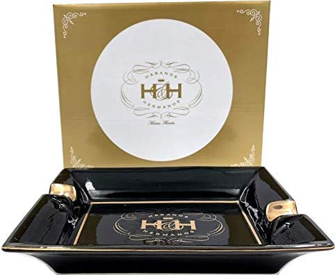 H&H Insignia collection - Rectangular Cigar Ashtray - Black Platter