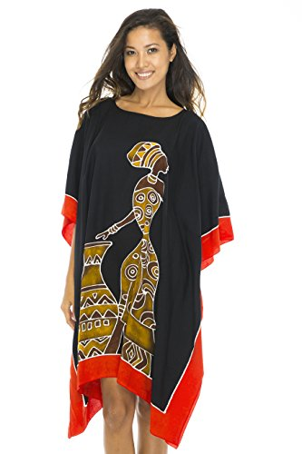 - Back From Bali Womens Beach Swim Suit Cover Up Caftan Poncho Short Africa Women Pot Black