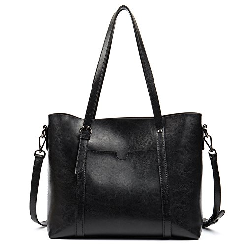 On Clearance - FIGESTIN Women Leather Tote Purse Designer Top Handle Satchel Shoulder Bags for Ladies Ladies Black Satchel Purse