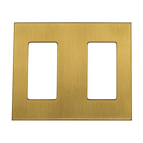 Lutron NT-R3R3-NFB-SB Nova T 2 Gang Faceplate Multigang Wall Plate, Satin Brass