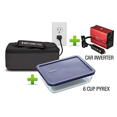 Hot Logic Mini - Deluxe Package with 6 Cup Pyrex Dish and 150Watt Hot Logic Power Inverter For Vehicle Use - Black