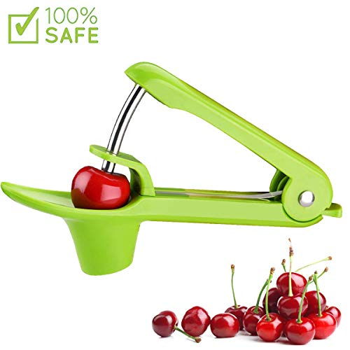 Cherry Pitter Tool, ShinFly Heavy-Duty Cherry/Olive Remover Stoner with Food-Grade Silicone Cup and Space-Saving Lock Design