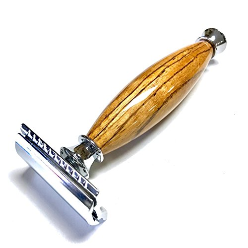Handmade Shaving Safety Razor with Zebra Wood Handle