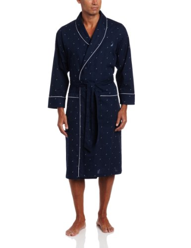 Nautica Men's Woven J-Class Robe, Peacoat, (Nautica Mens Robe)