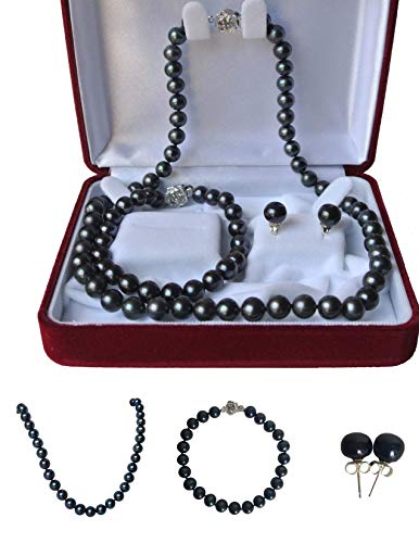 - Pearl Romance Round Black Strand Pearl Necklace Bracelet Stud Earrings 3pc Set Genuine Cultured Freshwater 6mm 7mm 8mm 9mm 10mm 11mm 16 18 20 24 30 36 inch Long (18, 8.0-8.5mm)