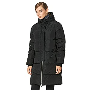 Orolay Women's Thicken Plus Size Down Jacket Hooded Coat Black XS