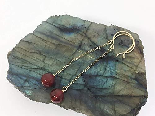 Carnelian Earrings 14k Gold Filled Wire, Chain And Handmade Hooks Red Earrings Carnelian Crystal