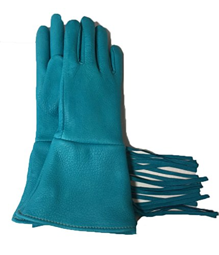 Sullivan Fabulous Fringe Glove Womens Deerskin Made in USA! M Size Turquoise Color 1 Pair
