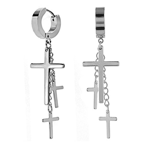 (Charisma 80s Gothic Earring Cross Earrings For Men Dangle Hinged Hoop Huggie Earrings Stainless Steel 1 Pair, Steel)