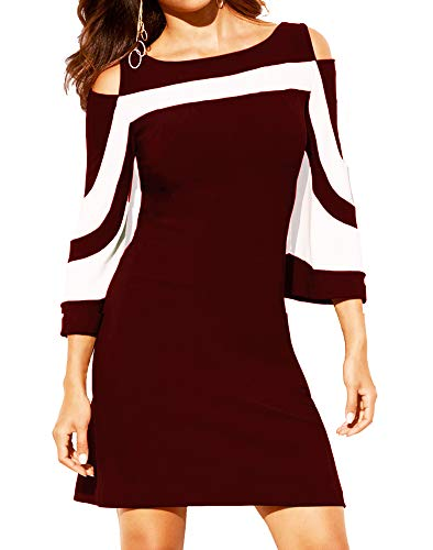 Women's Summer Casual Cold Shoulder Tunic Top T-Shirt 3/4 Sleeve Shirts Swing Dress Wine Red ()