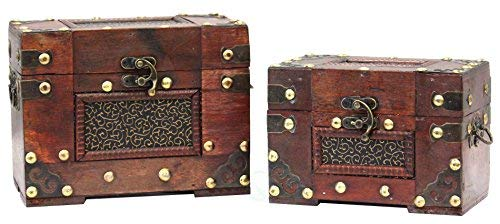 Vintiquewise QI003389.2 Rustic Studded Index/Recipe Card Box with Antiqued Latch, Set of 2 Sizes by Vintiquewise