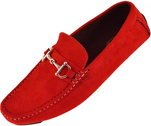 Amali Mens Plush Microfiber Faux Suede Slip On Loafer Driving Shoe with Buckle