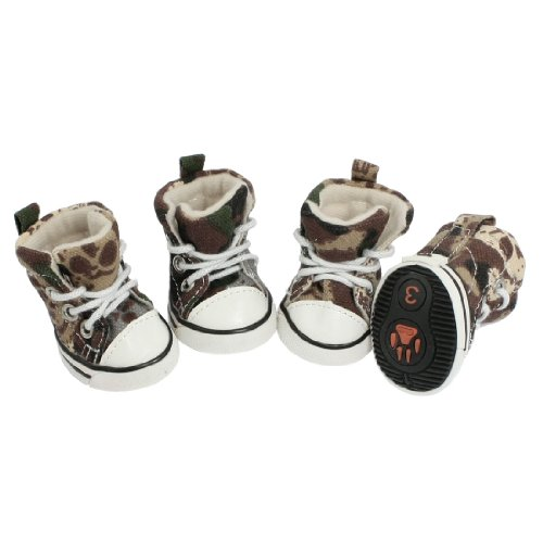 Como 4 Pcs Brown Beige Camouflage Pattern Sneaker Boots Shoes Size 3 for Pet Dog, My Pet Supplies