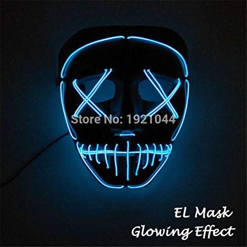 TZFLEDMAS Glowing Party Mask LED Light Up Mask for Halloween Scary Party Cosplay Style 6