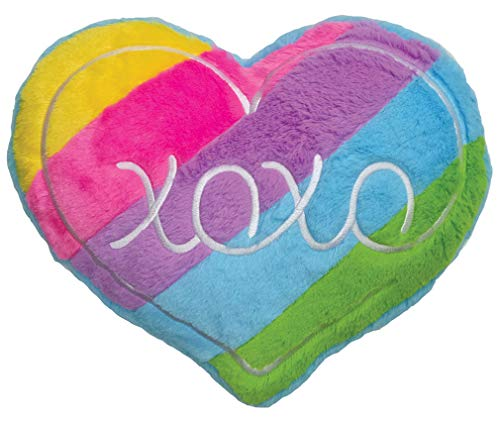 12 Inch Accent Pillow - iscream Strawberry Scented Furry Plush Rainbow Stripe Heart Shaped 15