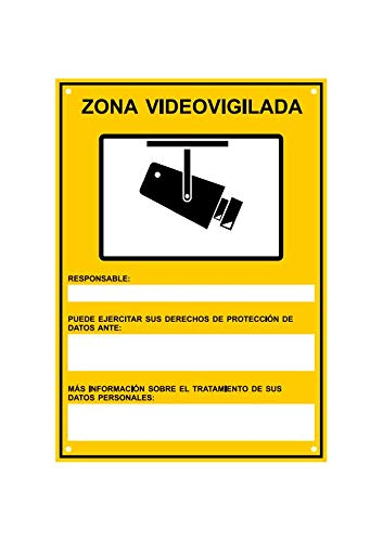 Amarillo ◀ Cartel Disuasorio PVC expandido Placa Disuasoria 21x15 cm tualarmasincuotas.es ▶ Nuevo Modelo HOMOLOGADO Cartel Zona Videovigilada A5 Interior//Exterior