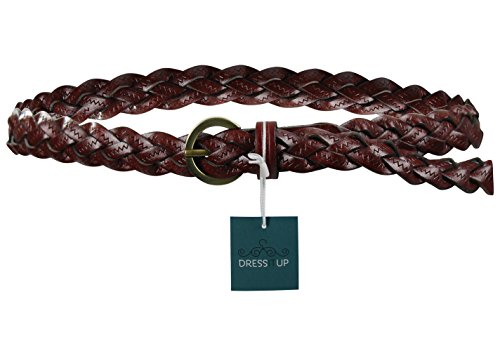 Trendy and Comfortable Real Cow Braided Leather Womens Belt, Mahogany - Skinny Braided Belt