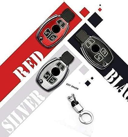 LLZYZJ Caso Llave del Coche de la Cubierta de la Llave de 2 Botones Shell dominante Cubierta con Llavero de Mercedes Benz C E S M CLS CLK Clase G sin Llave Negro Color : Red, Size : 2 Buttons