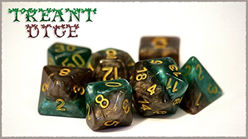(Gate Keeper Games Treant Halfsies Dice - 7 die polyhedral RPG Gaming dice Set - Forest Green & Bark Brown)